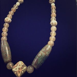 Other - Gemstone Necklace Jade and Quartz